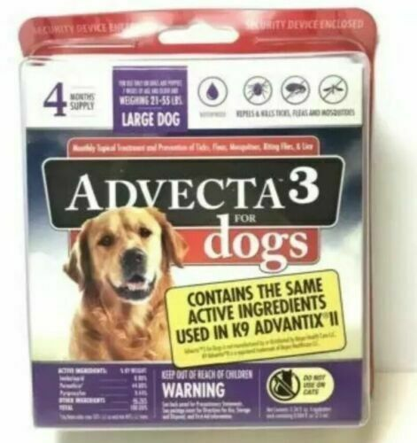 ADVECTA 3 Flea & Tick Treatment for Large Dogs  21 to 55 lbs 4 Month SupplyNew