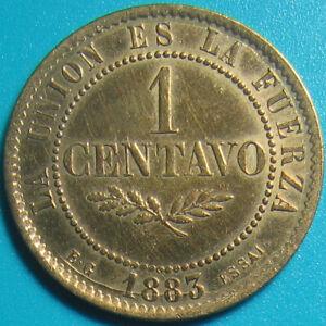 BOLIVIA-1883-EG-1-CENTAVO-ESSAI-PATTERN-RARE-BOLIVIAN-COIN-BRONZE-5gr-25-3mm