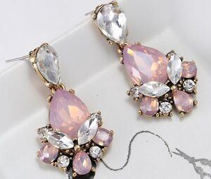 1-Pair-Elegant-Pink-Crystal-Rhinestone-Ear-Drop-Dangle-Stud-long-Earrings-157