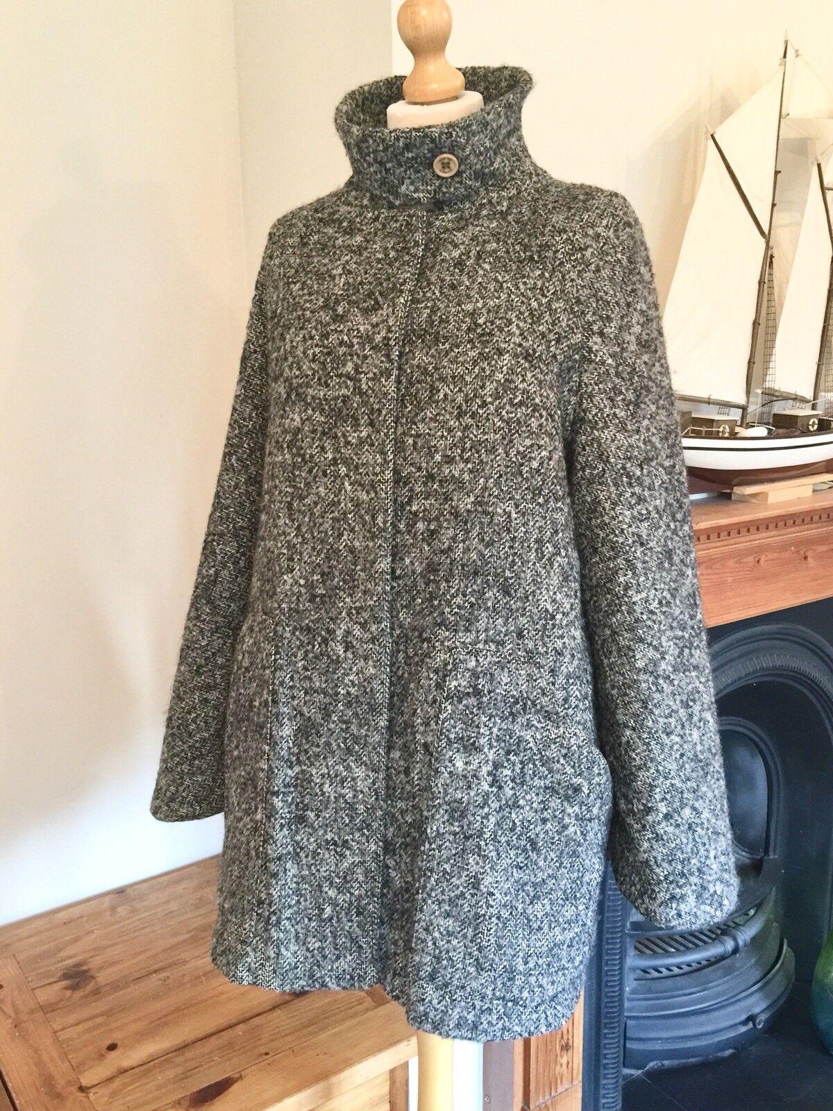 See By Chloe Designer Wool Mohair Blend Tweed  Cape Coat , Size 12