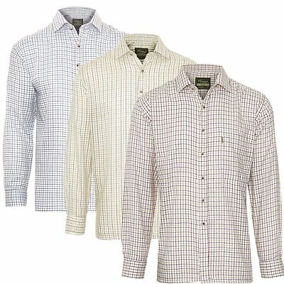 Mens Tattersall Shirt Long Sleeves Check Pattern Shirt Fishing Shooting Hunting