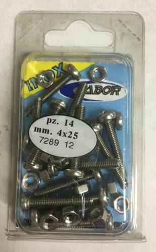 LABOR 14 PZ vite con testa cilindrica a taglio e dado esagonale in acciaio inox