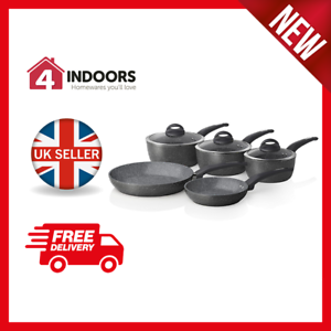 Tower T81276 5pce Forged Pan Set with Non Stick Cerastone Coating in Grey - New