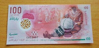 MALDIVES 100 Rufiyaa 2018 P29 UNC Polymer Banknote