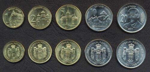SERBIA COMPLETE FULL COIN SET 1+2+5+10+20 Dinara 2011 UNC UNCIRCULATED LOT of 5