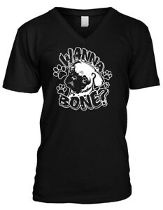 Wanna-Bone-Pug-Face-Paw-Prints-Sexual-Funny-Sayings-Mens-V-neck-T-shirt