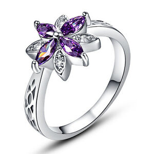 Purple-Amethyst-White-Topaz-Fashion-Jewelry-Gift-AAA-Silver-Ring-Size-6-7-8-9-10