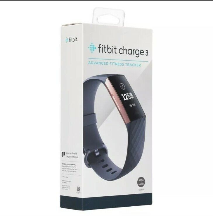 NEW Fitbit Charge 3 Activity Tracker + Heart Rate Blue Gray/Rose Gold