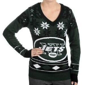 new style c1a65 a453a Details about NEW YORK JETS FOOTBALL NFL WOMENS UGLY CHRISTMAS SWEATER  Cardigan Size S Small