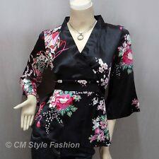 * Japanese Kimono Silky Satin Blouse Top Black XL