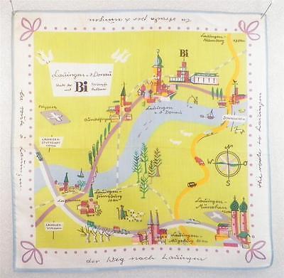 Vintage Hankie Handkerchief Lauingen Germany Munich Roadway Cotton 1950s Retro