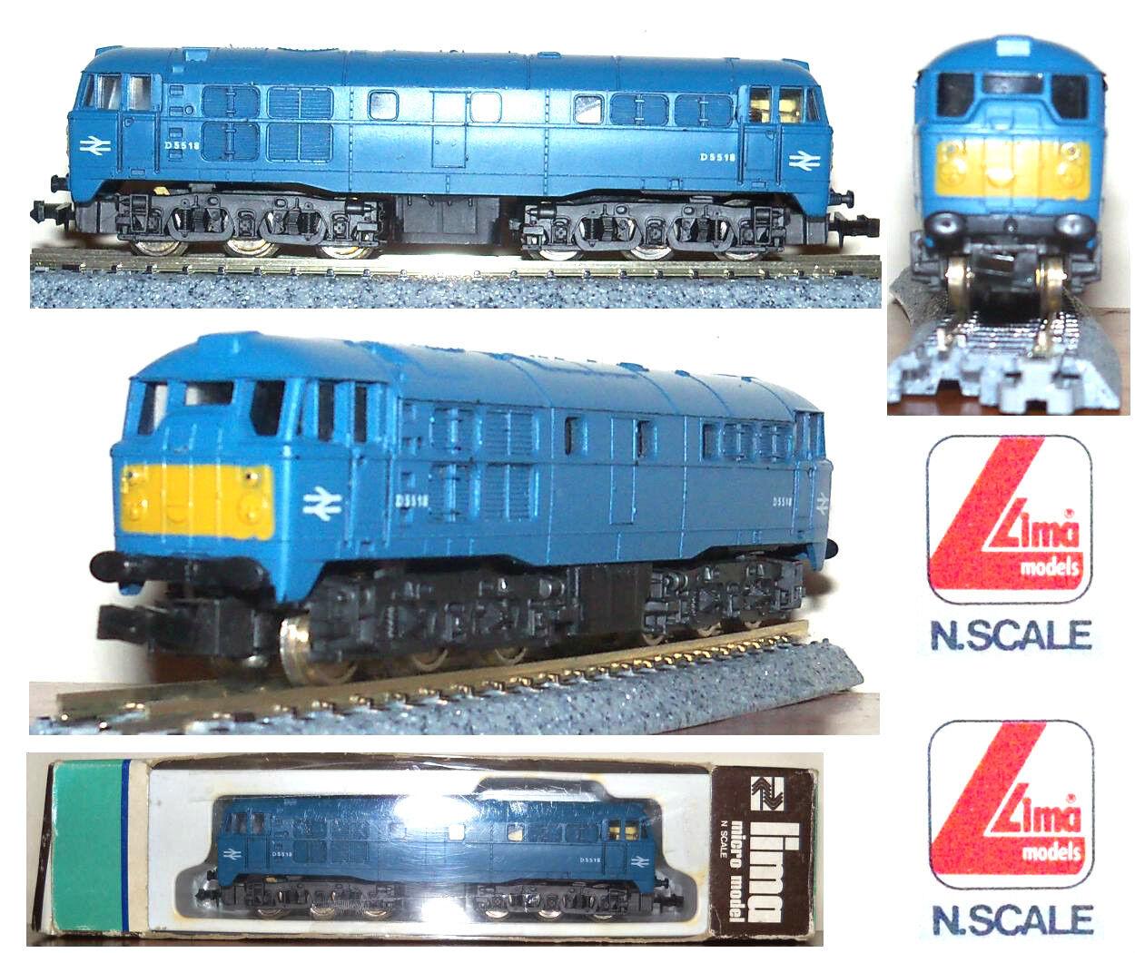 LIMA 209 LOCOMOTORE DIESEL CARGO D5518 LUNGO 6 ASSI BRITISH RAILWAYS BOX SCALA-N