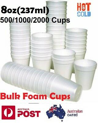 1000x Polystyrene Cups Large 12oz Disposable Foam Party Catering Hot Cold Drink