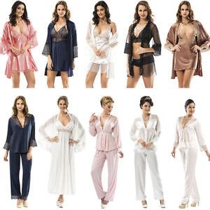 2tlg Schlafanzug Morgenmantel Dessous Set Babydoll Pyjama Mellice Kimono HxdYzH