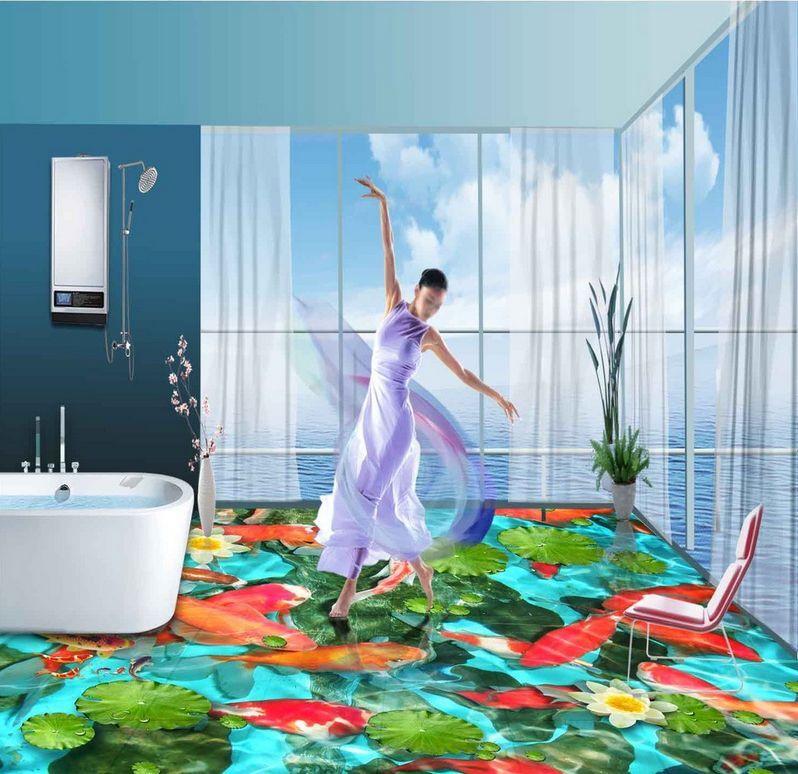 3D flowers Fish water 1 Floor WallPaper Murals Wall Print Decal 5D AJ WALLPAPER