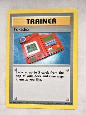4x Pokedex 087//102 Base Set Uncommon Pokemon Trading Card Game TCG