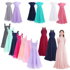 d55691dd170 Image is loading Flower-Girls-Princess-Dress-Kids-Pageant-Party-Long-