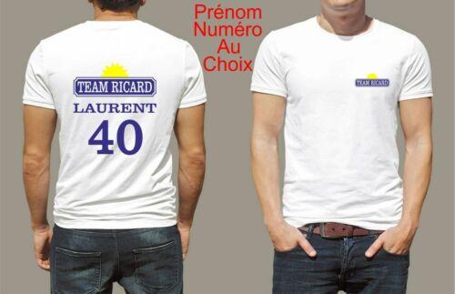 t-shirt personnalisé team ricard prénom et numéro au choix humoristique T141
