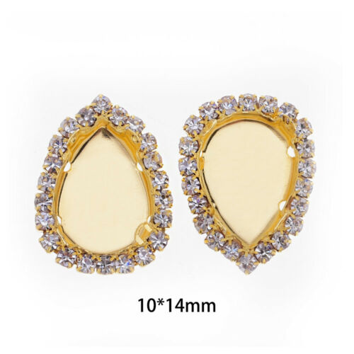 Sew on Rhinestone with claw Crystal Pendant Blank fit Teardrop Rhinestone 20pcs