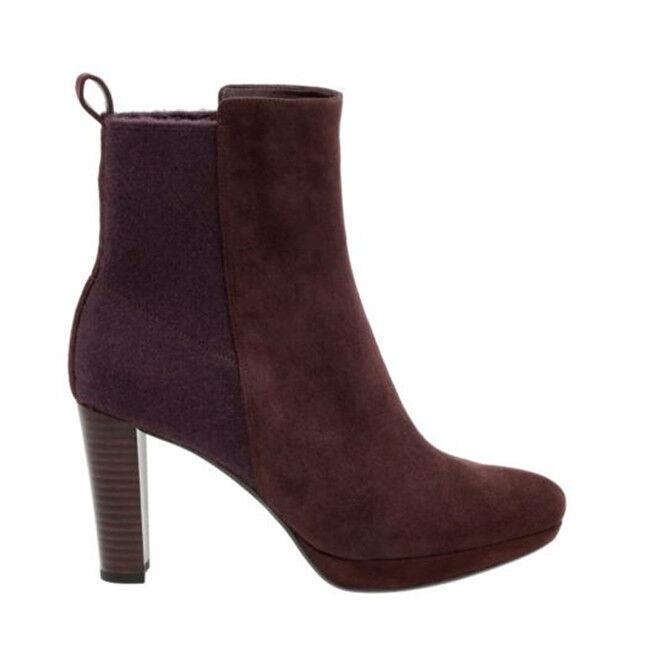 Chaussures Femme CLARKS KENDRA porter Aubergine Daim Bottines Femmes Taille UK 3 E 35.5