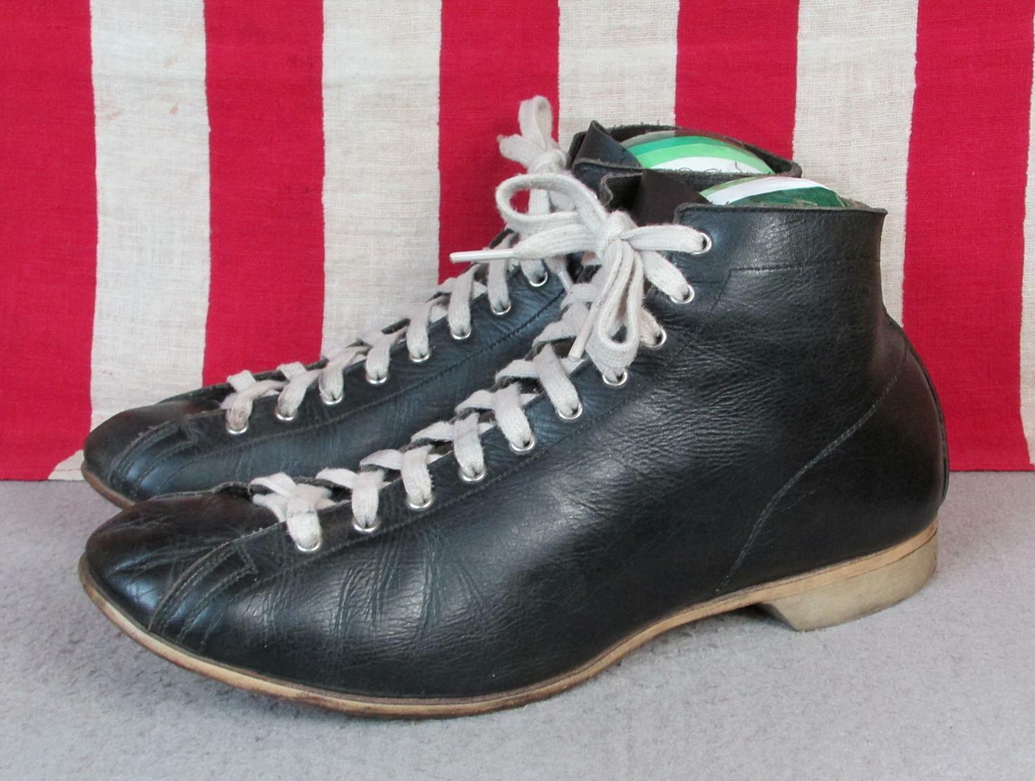 Vintage 1930s Black Leather High Top Athletic Sho… - image 5