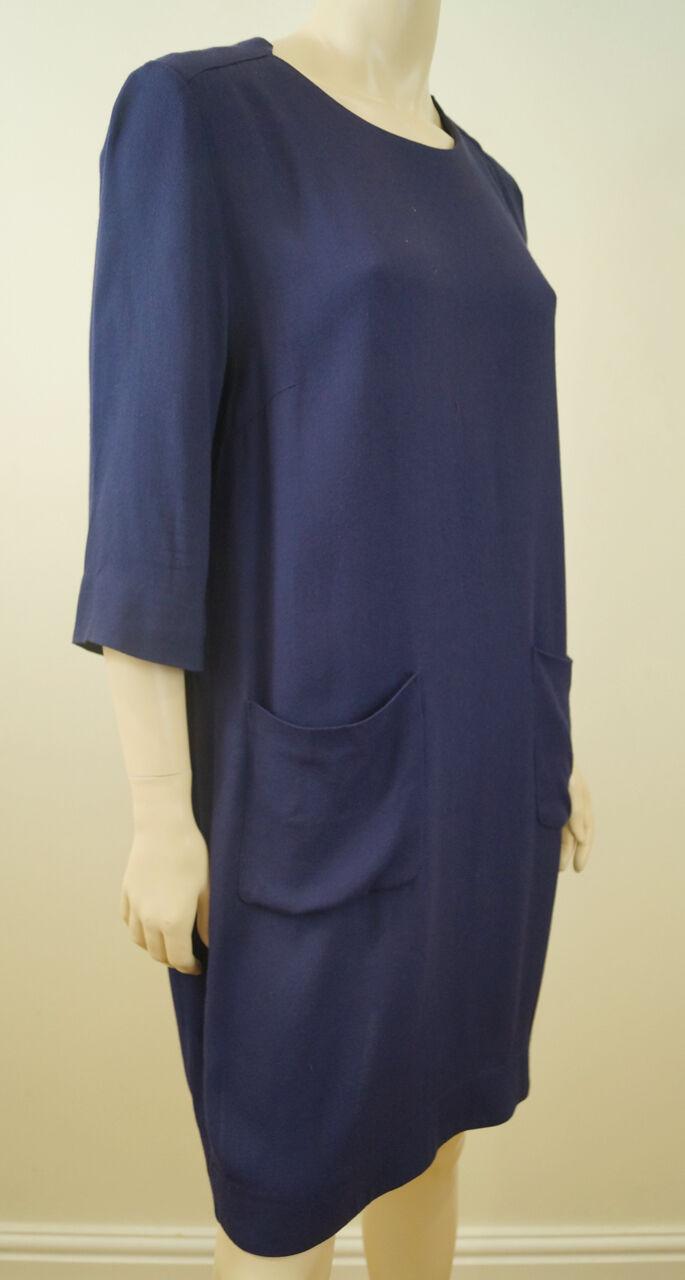 Da MALENE BIRGER BIRGER BIRGER Viola Blu rossoondo Collo 3 4 manica Smock Vestito Sz 40; UK14 7d90af