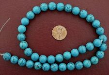 """10mm Round Gems Synthetic Turquoise Beads 15"""" Strand"""