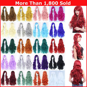 Fashion-80cm-Cosplay-Costume-Long-Full-Hair-Wavy-Curly-Wig-Wigs-Women-Girls