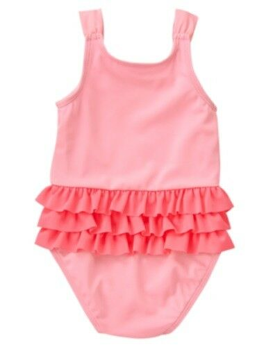 GYMBOREE SWIM SHOP PINK RUFFLE PARROT SKIRTED 1-PC SWIMSUIT 12 18 24 2 3 4 5 NWT