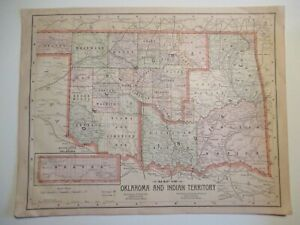 Details about Map of Oklahoma and Indian Territory and Map of Arizona/ New  Mexico, 1897