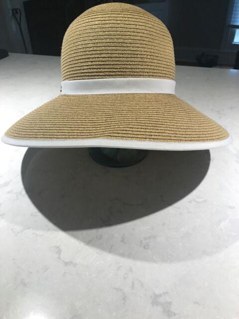 Pre Owned Women S Sun N Sand Headwear Tan White Straw Hat W Upf 50 Ebay