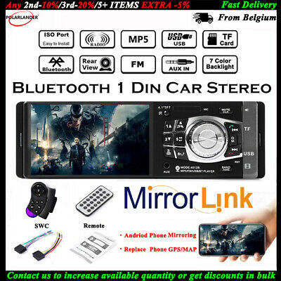 """4.1/"""" 1Din HD Touch Screen Car Vehicle Stereo Bluetooth MP5 MP4 Player USB TF 12V"""