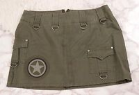 Hot Topic Army Green Skirt Patch Cargo Goth Serious Clothing Size Medium