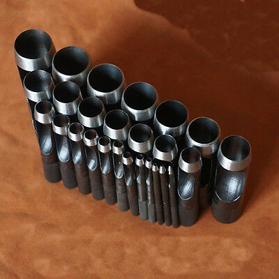 New Round Hollow Punch Set Hand Tools Hole Punching Leather Gasket CARBON Steel