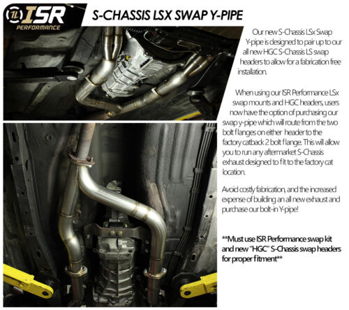 ISR Performance LS Swap Exhaust Y Pipe w// Gaksets S Chassis Silvia 240sx S13 S14