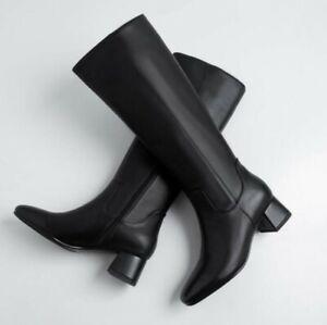 Classic-Women-Zipper-Punk-Leather-Round-Toe-Block-Mid-Heel-Mid-Calf-Riding-Boots