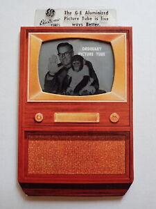 1950s Rare GENERAL ELECTRIC NBC TV Cardboard Advertisement DAVE GARROWAY MUGGS