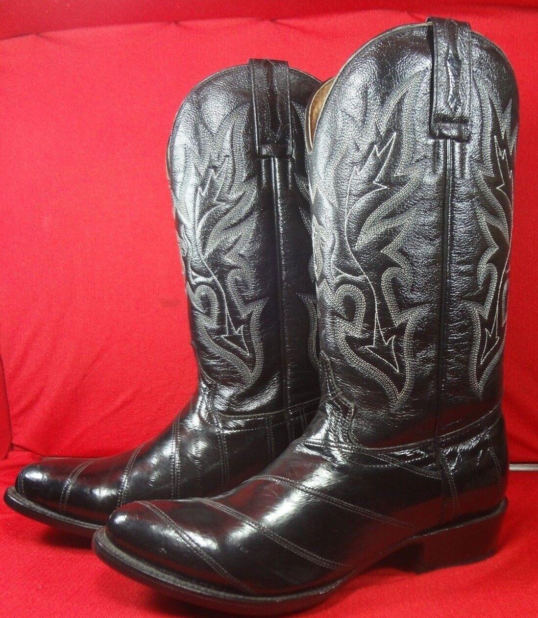 Para Hombre exótico Anguila Occidental botas De Vaquero de rodeo Bravo (0011)
