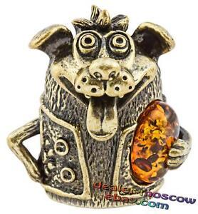 Bronze Brass Baltic Amber Miniature Hand Bell Cheerful Doggie IronWork 1022HE
