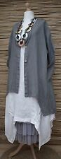 LAGENLOOK LINEN AMAZING BEAUTIFUL 2 POCKETS LONG JACKET*DARK GREY*BUST UP TO 48""
