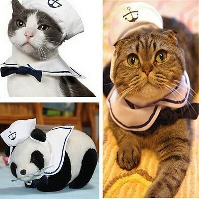 Fashion Pet Cat Dog Puppy Kitten Clothes Sailor Costume Suit Outfit Hat &Cape