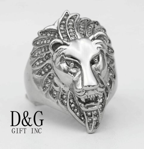 DG Men/'s Silver.Stainless Steel CZ Wedding Ring,LION.Head.8,9 10,11,12 13. Box