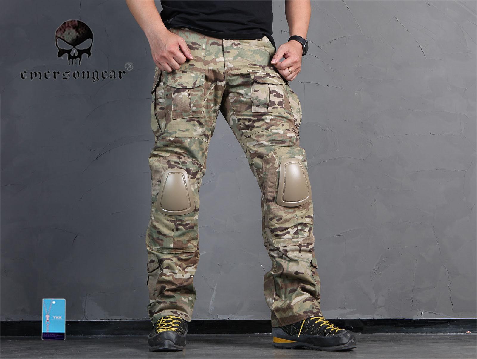 Hombres Pantalones BDU Combate Militar Airsoft Emerson Táctico Gen2 Pantalones Con Rodillera