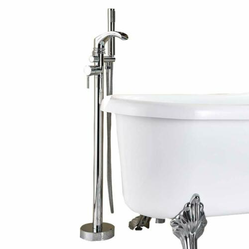 FreeStanding Bathtub Faucet Tub Filler Hand Shower Floor Mount Mixer Chrome