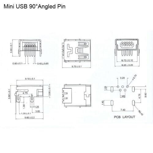 Mini USB Type B Female Connector DIP 5PF Socket 90°Angled Pin PCB Port
