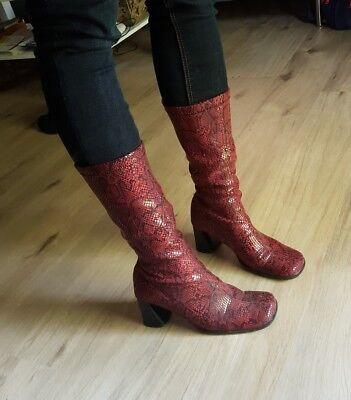 Stiefelette Stiefel 39 Bordeaux rot dunkelrot leopardenmuster Glitzer TOP! Edel