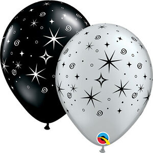 NEW-YEAR-039-S-EVE-10-x-11-034-SILVER-amp-BLACK-SPARKLES-amp-SWIRLS-PARTY-SUPPLIES-BALLOONS