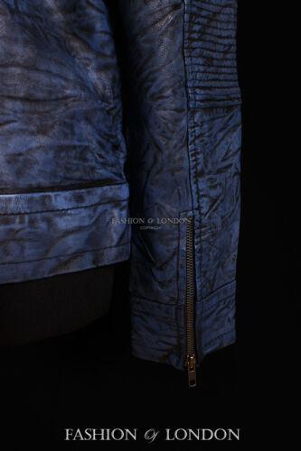 Les hommes de Ghost Protocol antique lavé bleu à capuche véritable veste en cuir d'agneau
