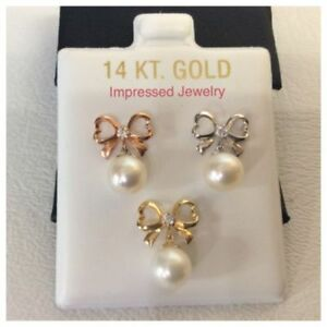 14K Yellow//White//Rose Gold Fresh Water Pearl with Bow cz Screw Back Stud Earring