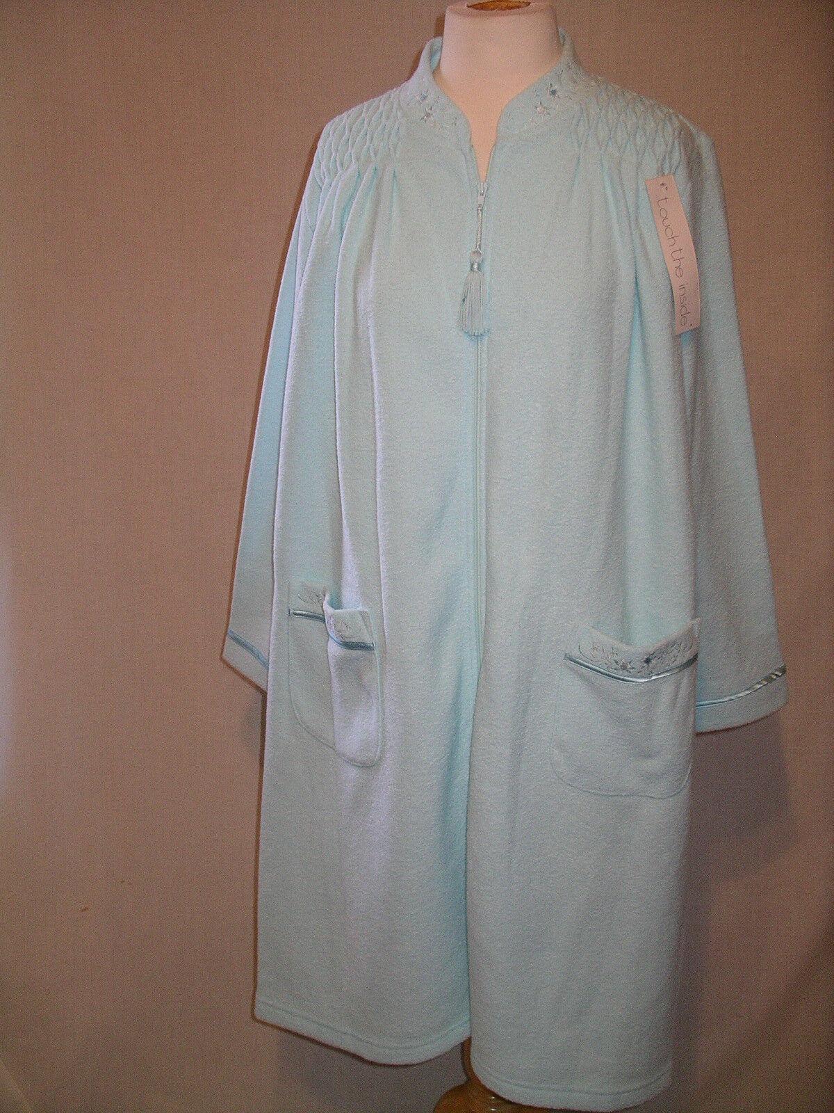 MISS ELAINE  Plush Soft Aqua Zip Front House Coat Robe - M - NWT  54